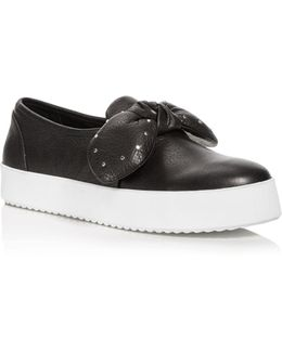 Women's Stacey Leather Studded Bow Slip-on Sneakers