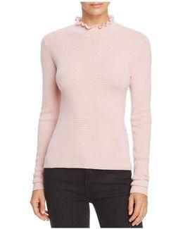 Ruffle Pointelle Sweater