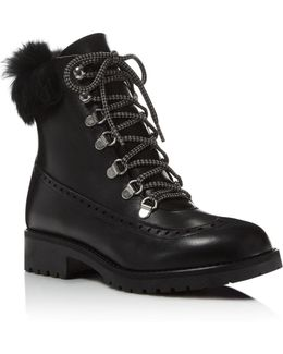Rugby Leather And Rabbit Fur Lace Up Booties