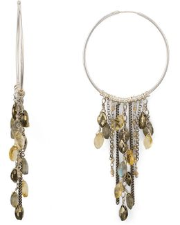 Beaded Fringe Hoop Earrings