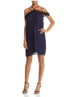Crochet Trim Off-the-shoulder Dress
