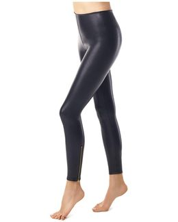 Perfect Control Faux Leather Zip Leggings