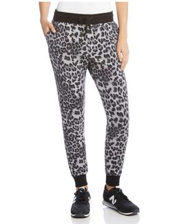 Leopard-print Fleece Pants