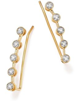 14k Yellow Gold Five Diamond Ear Climbers