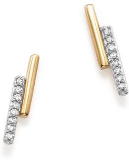 14k Yellow Gold Pavé Diamond Crossover Bar Stud Earrings