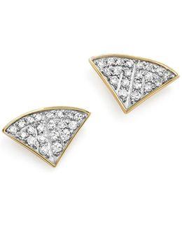 Sterling Silver And 14k Yellow Gold Pavé Diamond Folded Fan Stud Earrings