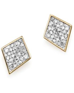 Sterling Silver And 14k Yellow Gold Pavé Diamond Folded Square Stud Earrings