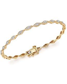 14k Yellow Gold Pavé Diamond Tennis Bracelet
