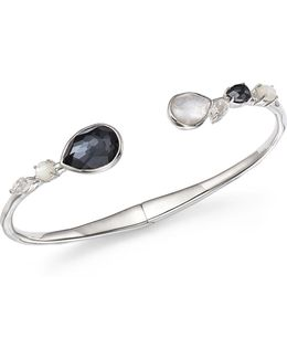 Mother-of-pearl Doublet And Clear Quartz Open Bangle In Piazza