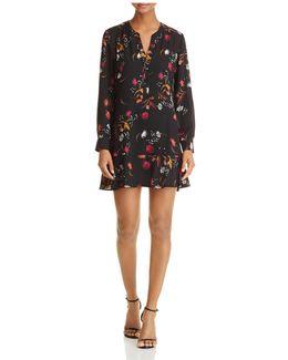 Flounce-hem Floral Print Dress