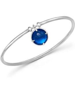 Sterling Silver Wonderland Mother-of-pearl And Quartz Doublet Charm Bangle In Ultramarine