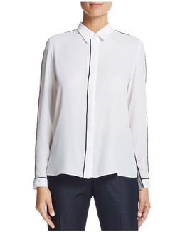 Tyra Piped Button-down Top