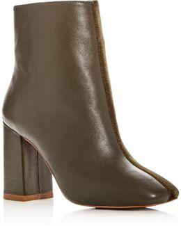 Women's Velvet & Leather Block Heel Booties