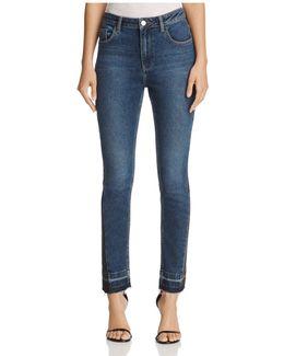 Kick Crop Released Frayed-hem Jeans
