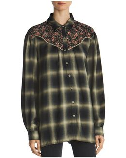 Abstract-check And Floral-print Shirt