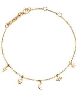 14k Yellow Gold Itty Bitty Celestial Charms Bracelet With Diamonds