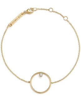 14k Yellow Gold Circle Charm Bracelet With Diamond