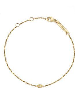 14k Yellow Gold Itty Bitty Diamond Evil Eye Bracelet