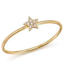 14k Yellow Gold Itty Bitty Diamond Star Ring