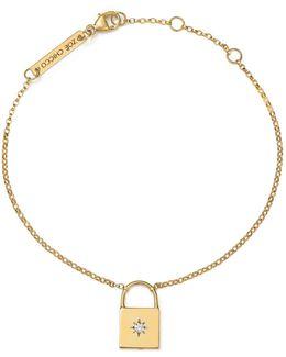 14k Yellow Gold Padlock Charm Bracelet With Diamond