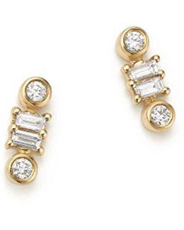 14k Yellow Gold Sadie Pearl Baguette Diamond Stud Earrings