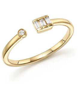 14k Yellow Gold Sadie Pearl Baguette Diamond Ring