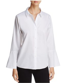 Button-down Flare-sleeve Top