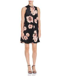 Cutout Floral Print Velvet Dress