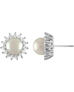 Simulated Pearl Sunburst Stud Earrings