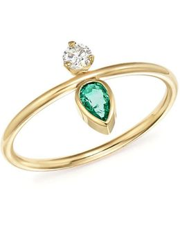 X Gemfields 14k Yellow Gold Vertical Diamond And Pear-cut Emerald Ring
