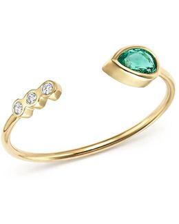 14k Yellow Gold Diamond Bezel & Gemfields Pear-cut Emerald Bypass Ring