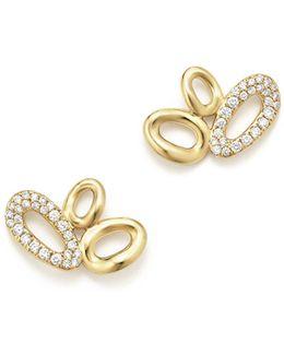 18k Yellow Gold Cherish Diamond Link Cluster Earrings