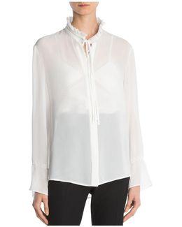 Tie-detail Crepe Shirt