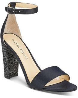 Emalyn Satin Ankle Strap Sparkle Heel Sandals