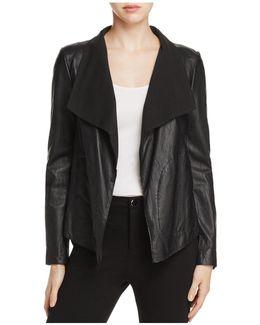 Draped Collar Leather Jacket