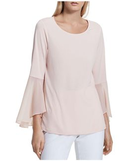 Mixed Media Bell Sleeve Top