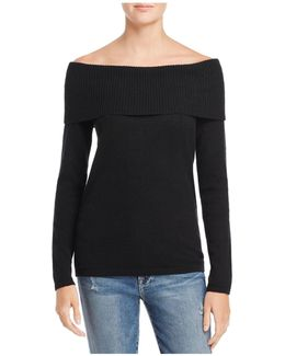 Ribbed Off-the-shoulder Cashmere Sweater