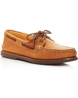 Men's Gold Authentic Original Two Eye Leather Boat Shoes
