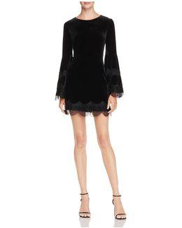 Bell-sleeve Velvet & Lace Dress