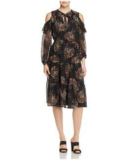 Cold-shoulder Chiffon Dress