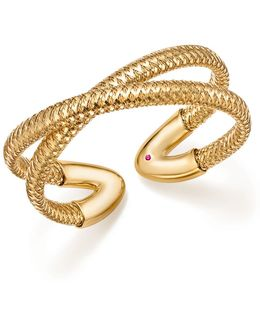 18k Yellow Gold Primavera Crisscross Cuff