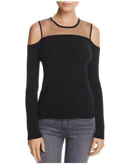 Sheer-panel Cold-shoulder Sweater