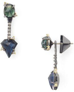 Double Stone Ear Jacket Earrings