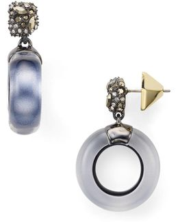Domed Drop Circle Earrings