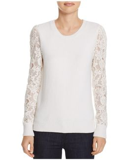 Lace-sleeve Wool Sweater