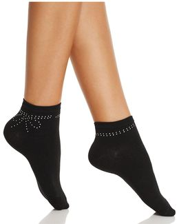 Rhinestone Bow Ankle Socks