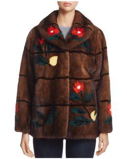 Floral Intarsia Mink Fur Coat