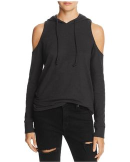 Cold-shoulder Hooded Sweatshirt