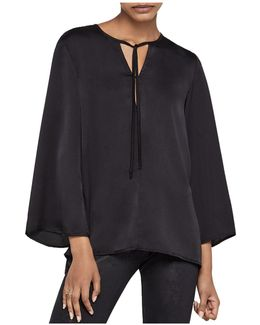 Bell Sleeve Tie-neck Blouse
