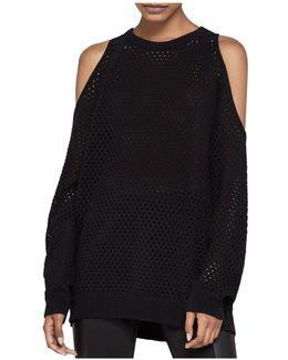 Open Stitch Cold-shoulder Sweater